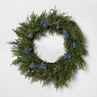 """18"""" Faux Juniper Wreath with Berries - Hearth & Hand™ with Magnolia"""