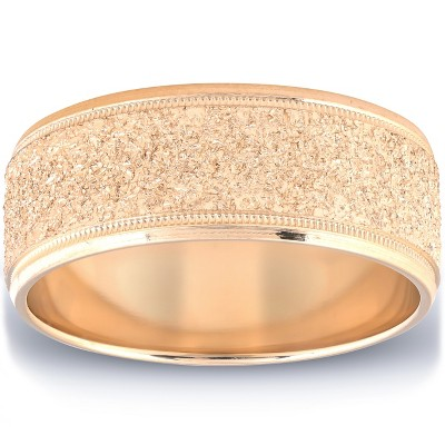 Pompeii3 Mens Brushed Wedding Band Solid 10K Yellow Gold Ring 8mm Wide