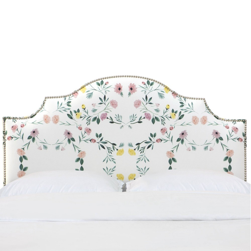 King Nail Button Notched Headboard In Kaleidoscope Floral Blush White Skyline Furniture