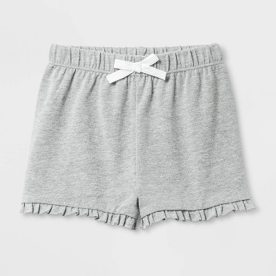 Baby Girls' Back-Up Ruffle Fashion Shorts - Cat & Jack™ Heather Gray 12M