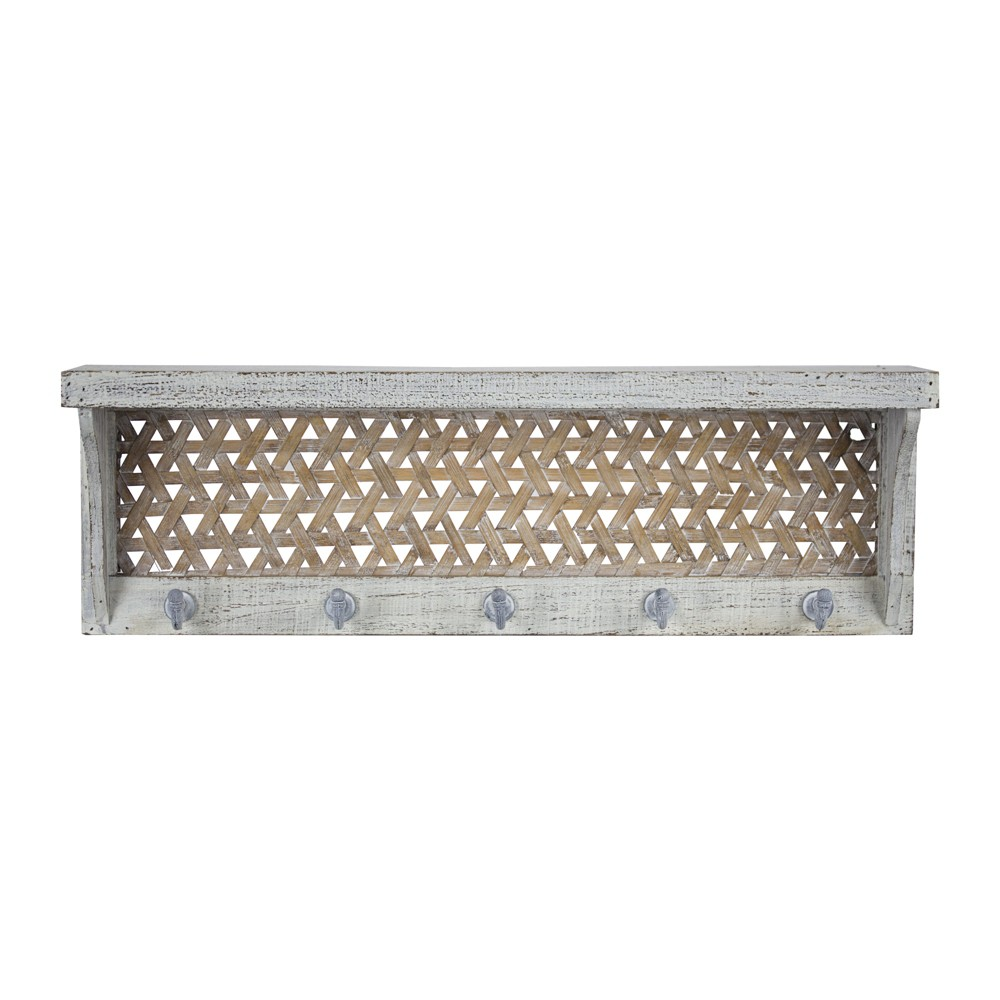"Image of ""23.7"""" x 7.7"""" Decorative Wall Shelf With Hooks White - E2 Concepts"""