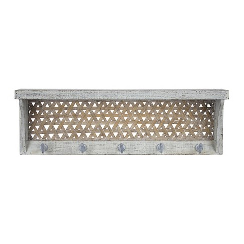 """23.7"""" x 7.7"""" Decorative Wall Shelf With Hooks White - E2 Concepts - image 1 of 6"""