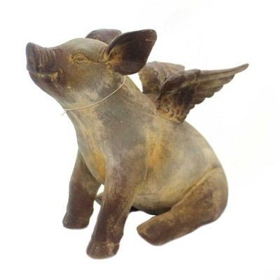 "Home & Garden 11.5"" Flying Pig Statue Marathon Statue Regal Art & Gift  -  Outdoor Sculptures And Statues"
