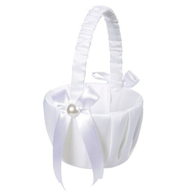 Juvale Flower Girl White Satin Wedding Basket with Handle for Weddings (8 x 5 x 3.5 Inches)