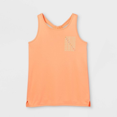 Girls' 'Never Stop' Graphic Tank Top - All in Motion™ Orange - image 1 of 2