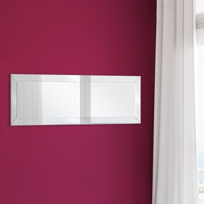 14 x45  Mirror Framed Beveled Full Length Wall Mirror Silver - Gallery Solutions