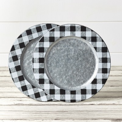 Lakeside Galvanized Charger Plates with Buffalo Check Farmhouse Pattern - Set of 2