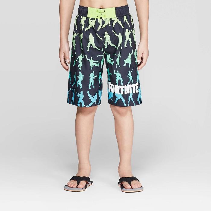 Boys' Fortnite Dancing Swim Trunks - Black/Lime - image 1 of 3