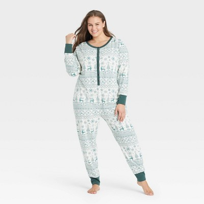 Women's Reindeer Good Tidings Union Suit Green/Cream - Hearth & Hand™ with Magnolia