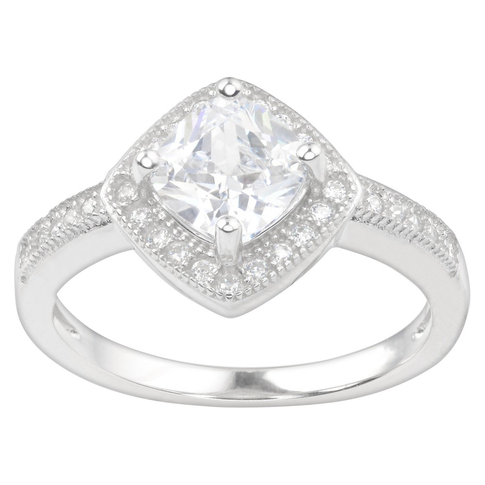 1 CT. T.W. Square-Cut Cubic Zirconia Basket Set Engagement Ring in Sterling Silver (9)