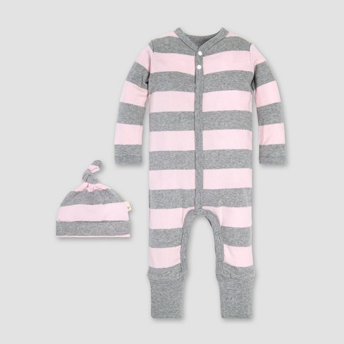 Burt s Bees Baby® Girls  Organic Cotton Rugby Stripe Convertible Cuff  Coverall   Hat Set - Blossom a44b63d6a616