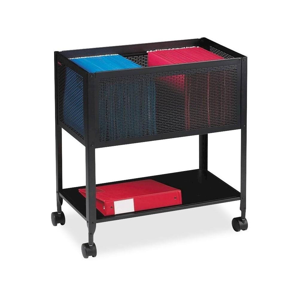 Image of Lorell Vertical Filing Cabinet Mobile Cart Mesh Steel - Black