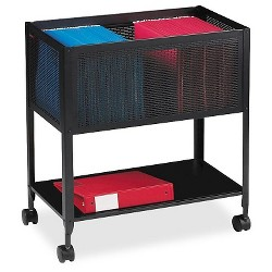 Lorell® Vertical Filing Cabinet, Mobile Cart, Mesh, Steel - Black