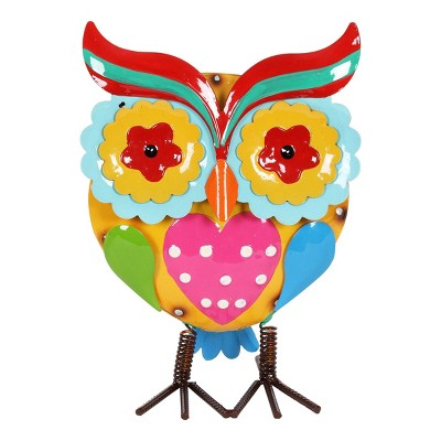 "10"" Metal Painted Owl Statue - Exhart"