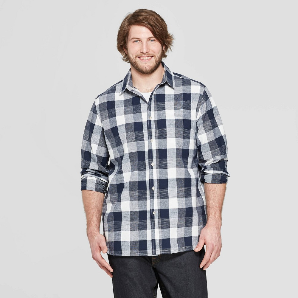 Men's Tall Plaid Long Sleeve Cotton Slub Button-Down Shirt - Goodfellow & Co Stargaze Navy Xlt, Blue