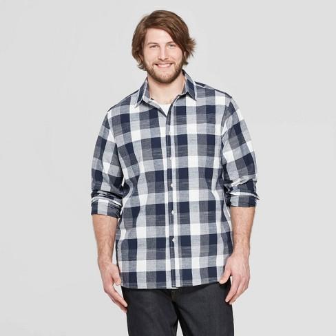 Men's Big & Tall Plaid Long Sleeve Cotton Slub Button-Down Shirt - Goodfellow & Co™ Stargaze Navy 5XB - image 1 of 3