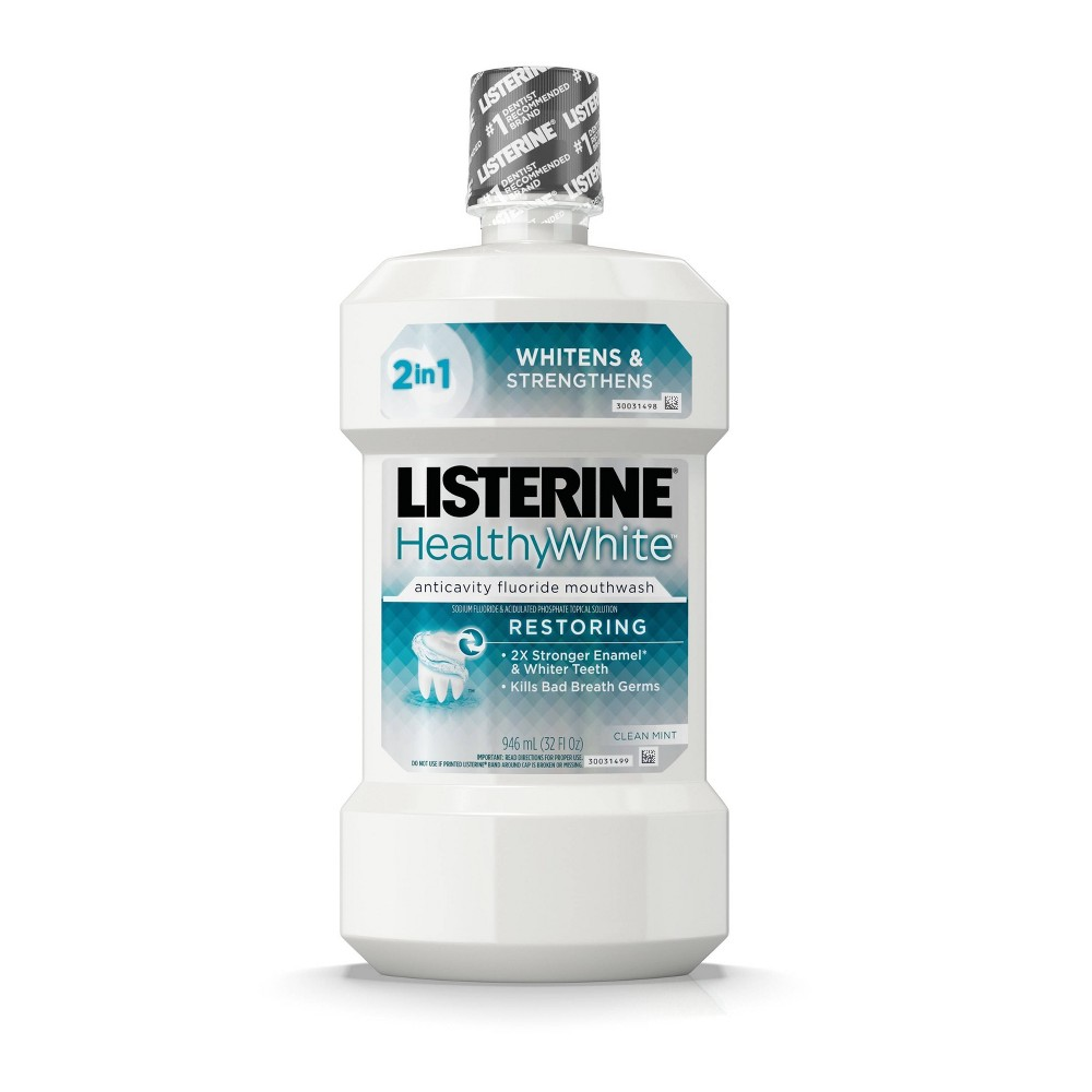 Image of Listerine Healthy White Teeth Whitening Fluoride Mouthwash - 32 fl oz