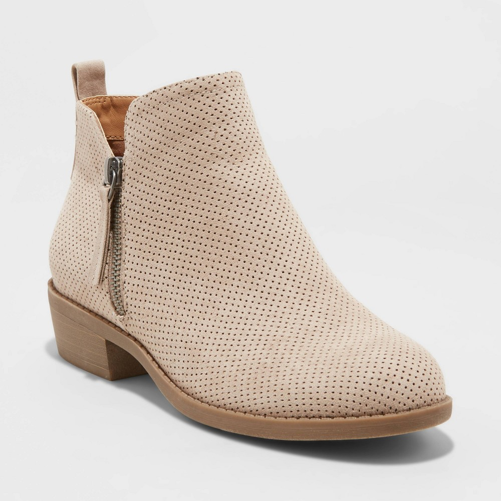 Women 39 S Dylan Wide Width Laser Cut Ankle Bootie Universal Thread 8482 Taupe 5w