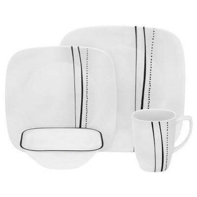 Corelle® Square™ 16pc Dinnerware Set Cascading Lines Black