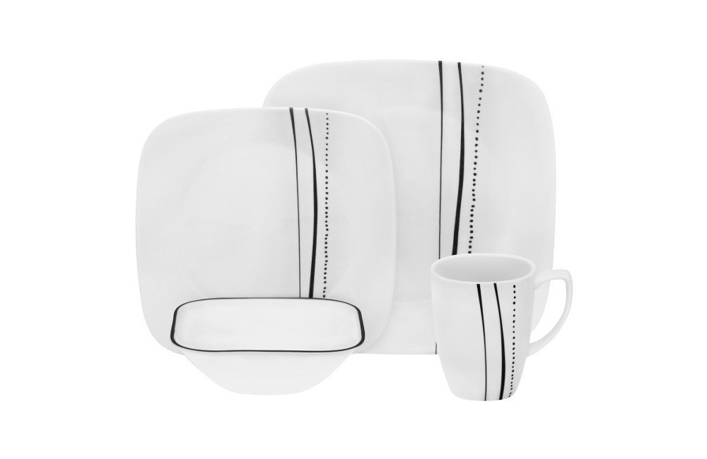 Image of Corelle Square 16pc Dinnerware Set Cascading Lines Black