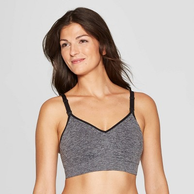 Women's Nursing Seamless Bra - Auden™ Heather Gray/Black XS