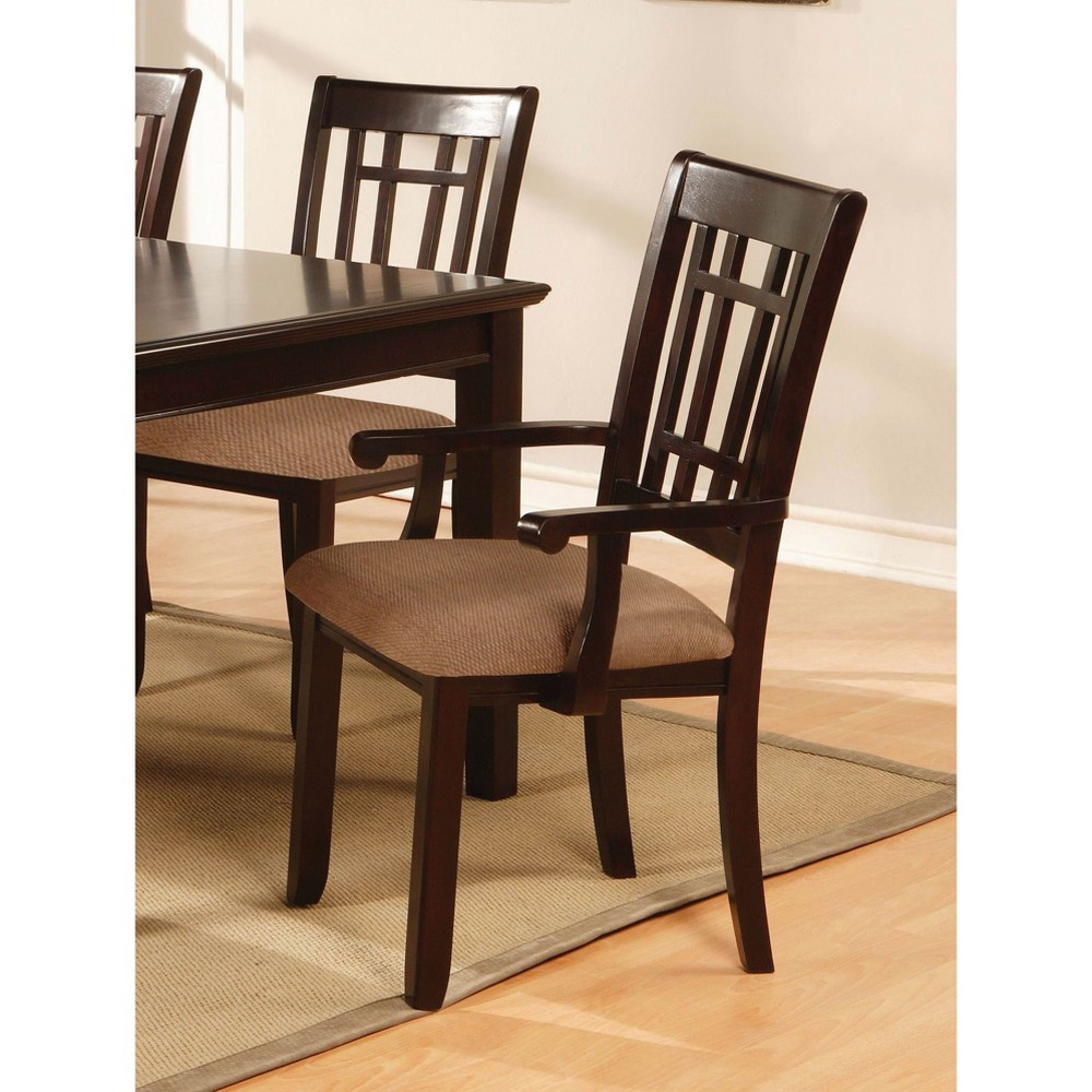 ioHomes Gridded Ladder Back Arm Chair Wood/Dark Cherry (Set of 2)