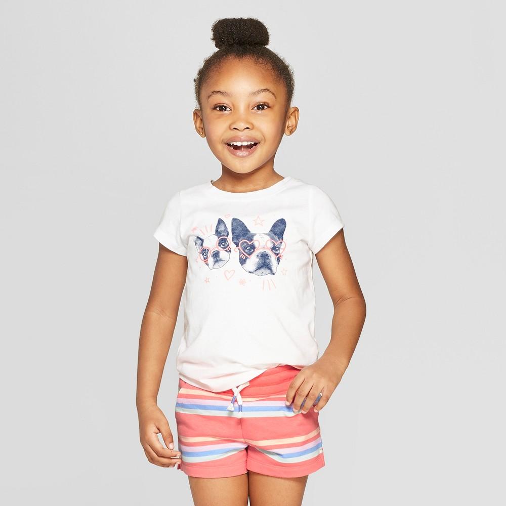Toddler Girls' Short Sleeve 'Dogs' Graphic T-Shirt - Cat & Jack White 4T