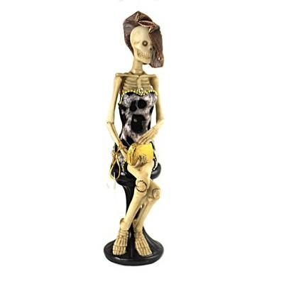 "Halloween 10.5"" Glittering Fashion Skeleton. Bones Mini Dress  -  Decorative Figurines"