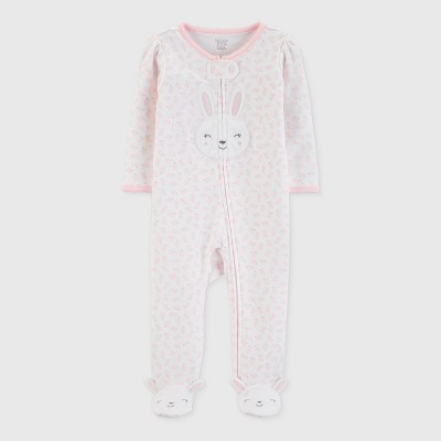Baby Girls' Bunny Print Sleep 'N Play - Just One You® made by carter's Pink 6M