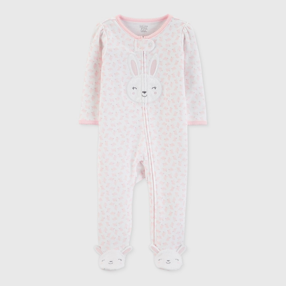 Baby Girls' Bunny Print Sleep 'N Play - Just One You made by carter's Pink Newborn