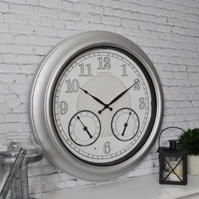 """18"""" First Time Rediant LED Outdoor Wall Clock Charcoal"""