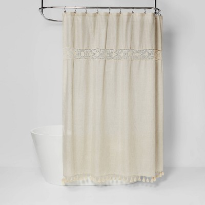 Solid Crochet with Tassels Shower Curtain Tan - Opalhouse™