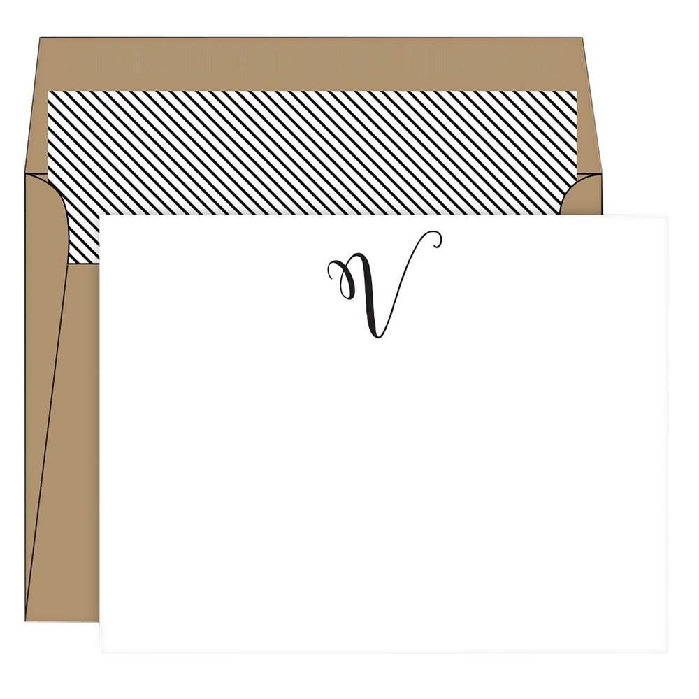 RosanneBECK Collections White Die-Cut Social Set Kraft Monogram - V