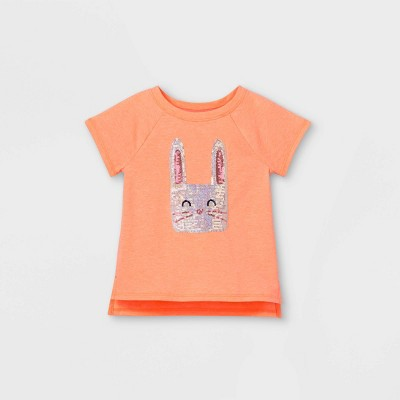 Toddler Girls' Sequin Bunny Short Sleeve T-Shirt - Cat & Jack™ Peach 18M
