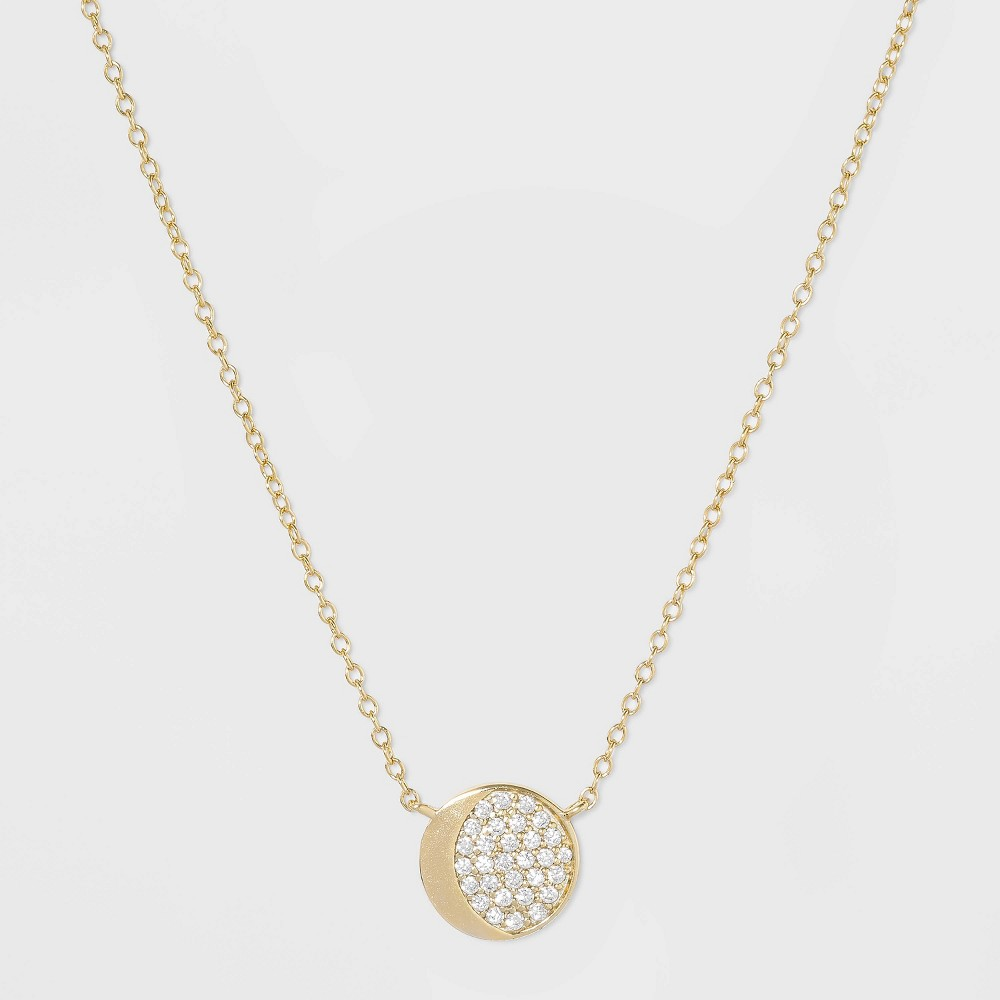 Sterling Silver Half Moon Pave Cubic Zirconia Necklace - Gold, Girl's