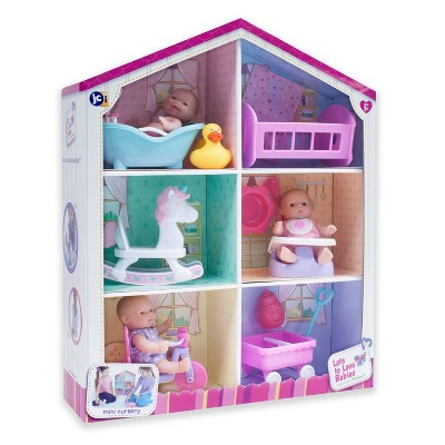"""JC Toys Lots to Love Babies 5"""" Mini Doll House with Dolls and Accessories"""
