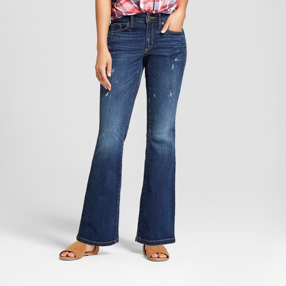 Women's Mid-Rise Skinny Bootcut Jeans - Universal Thread Medium Wash 18 Long, Blue