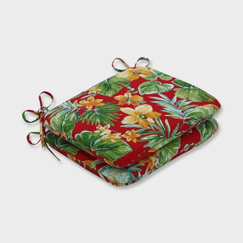 2pk Beachcrest Poppy Rounded Corners Outdoor Seat Cushions Red - Pillow Perfect - image 1 of 1