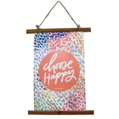 "Home Decor 25.0"" Choose Happy Wall Hanging Fabric Spring Banner  -  Fiber Wall Art"