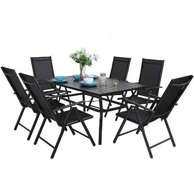 7pc Patio Dining Set Rectangular Table with Umbrella Hole & Folding Reclining Chairs - Captiva Designs