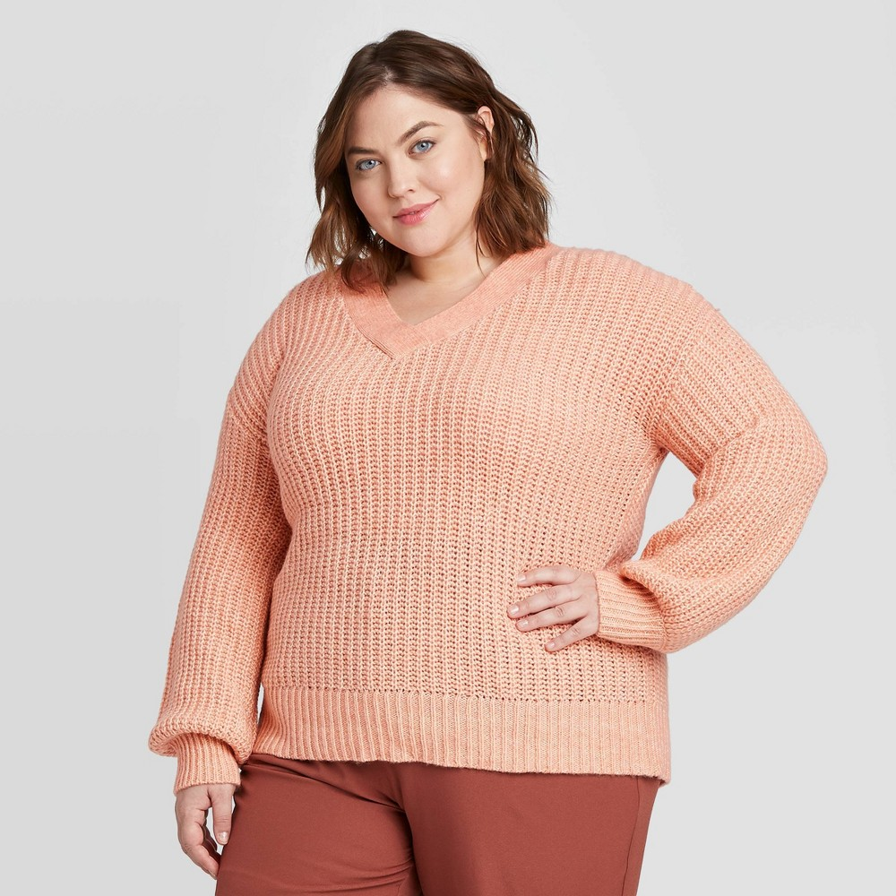 Women's Plus Size V-Neck Pullover Sweater - Ava & Viv Coral 1X, Women's, Size: 1XL, Pink was $27.99 now $19.59 (30.0% off)