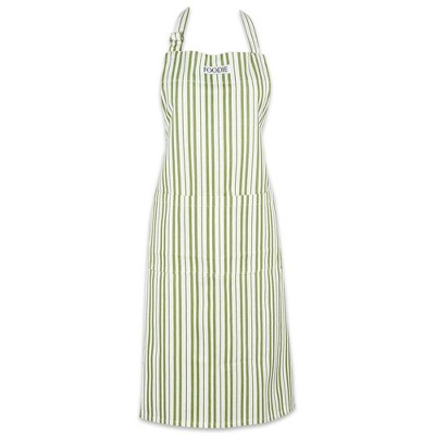Cotton Foodie Striped Gourmet Chef Apron Green - Design Imports