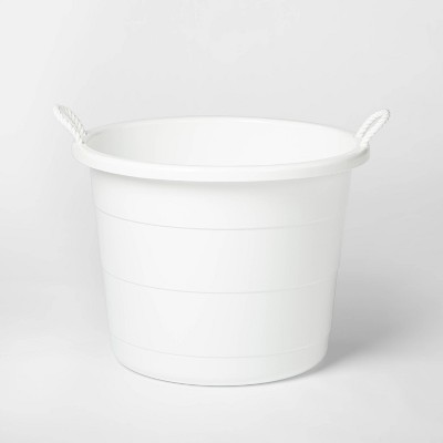 Plastic Storage Tub with Woven White Handles - Pillowfort™