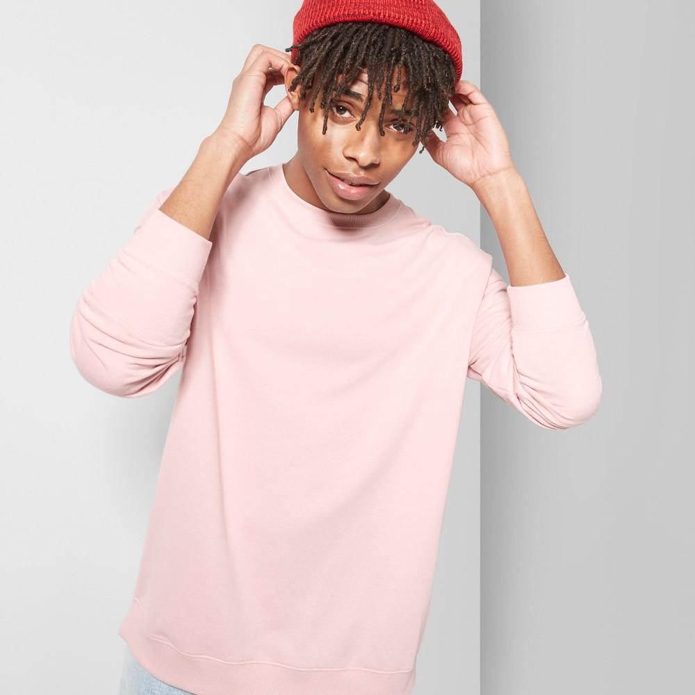 Men's Long Sleeve Lightweight Drop Shoulder Crew Pullover Sweatshirt - Original Use Sugar And Spice L, Pink