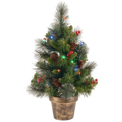 National Tree Company 2ft Pre-Lit Crestwood Spruce Small Tree Silver Bristle, Cones, Red Berries In A Plastic Bronze Pot with 35 Multicolored LEDs