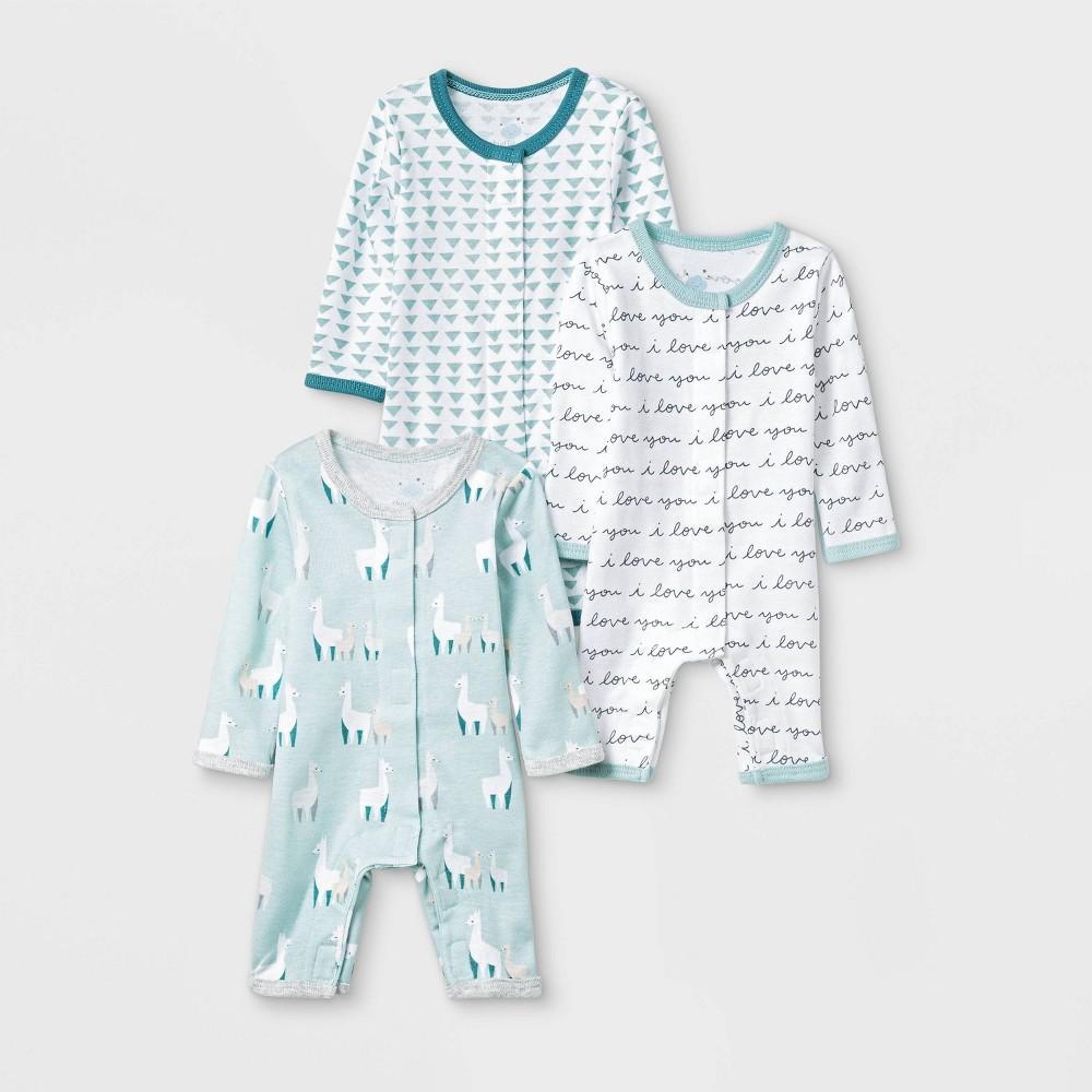 Image of Baby 3pk Llama Love Zip Sleep N' Play Pajama Set - Cloud Island Preemie, Kids Unisex, Blue