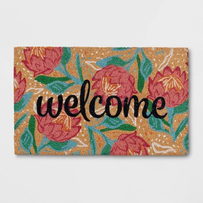 """1'6""""x2'6"""" 'Welcome' Flower Doormat Natural - Opalhouse™"""
