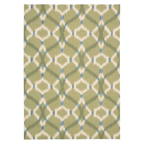 Waverly Ikat Lattice Indoor/Outdoor Rug - Green (10'x13') - image 1 of 4