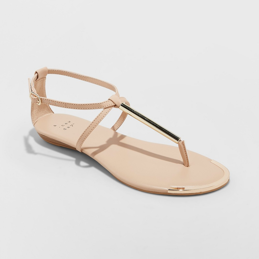 Women's Archer T Strap Thong Sandals - A New Day Tan 12