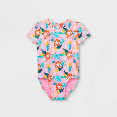 Toddler Girls' Floral Front Zip-Up Short Sleeve One Piece Swimsuit - Cat & Jack™ Pink